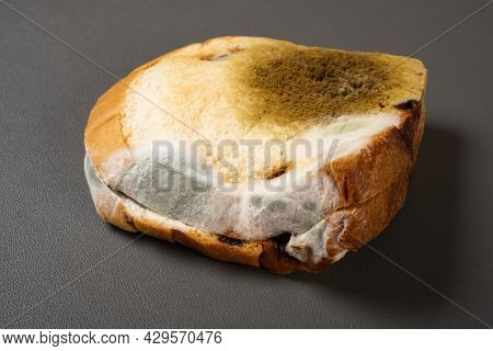 Angle View Moldy Bread On A Dark Background