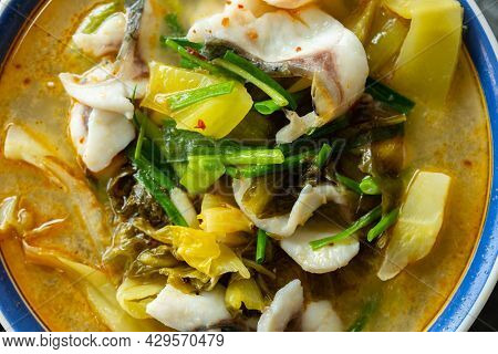 Top View Spicy Boiled Fish Close Up