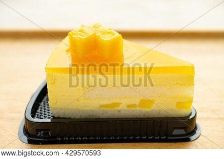 Angle View Fresh Mango Cake Horizontal Composition