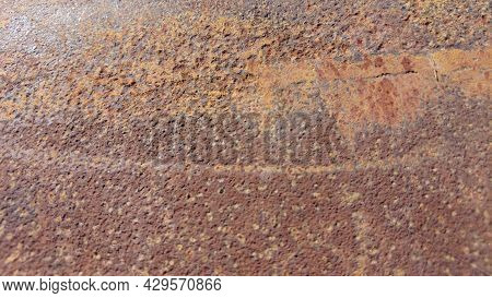 Rusty And Metal Texture Background. Realistic Russet Sample, Template Backdrop. Textured Illustratio