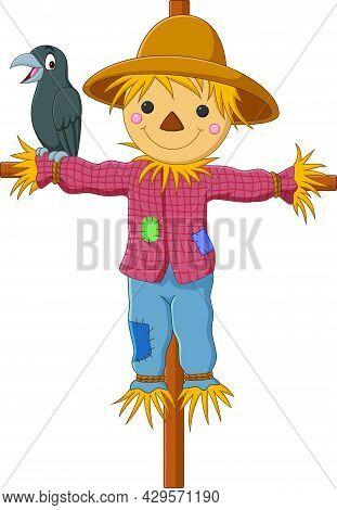 Vector Illustration Of Cartoon Funny Scarecrow With Crow Bird