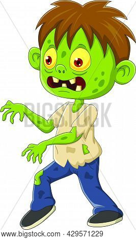 Vector Illustration Of Cartoon Angry Zombie Boy Walking