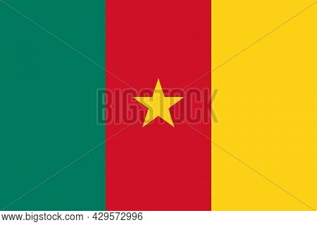 National Flag Of Cameroon Original Size And Colors Vector Illustration, Cameroonian Flag Or Drapeau