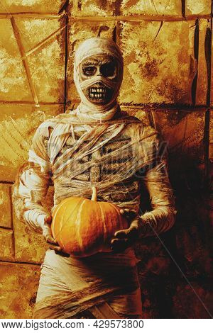 Scary Halloween mummy holds a pumpkin standing by the wall with ancient Egyptian hieroglyphs. Halloween. Ancient Egyptian mythology.