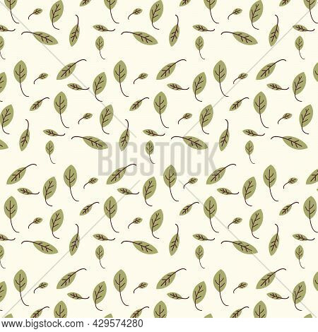 Leaf Seamless Pattern On Light Yellow Background. Mini Green Leaves Design For Fabric,print,product,