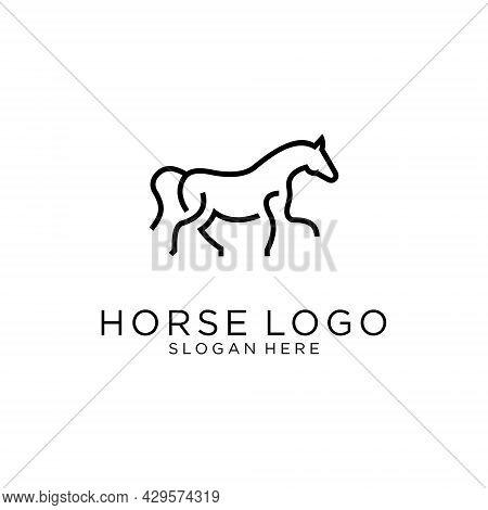 Horse Logo Design Vector Illustration. Line Art Horse Logo Design. Horse Logo. Horse Vector. Horse I