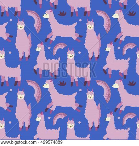 Seamless Pattern On A Dark Background. Pink Llamas, Rainbows, Peas And Plants. Animals. Lama In Diff
