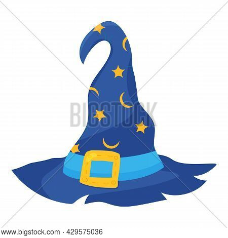 Cartoon Halloween Witch Hat With Buckle For Masquerade. Vector Illustration