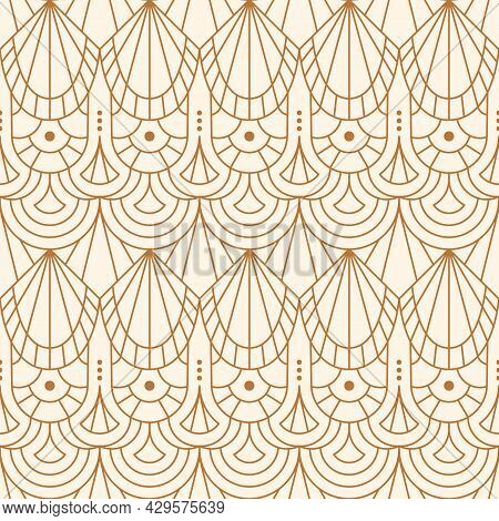 Art Deco Seamless Pattern In A Trendy Minimalist Linear Style. Vector Abstract Geometric Background