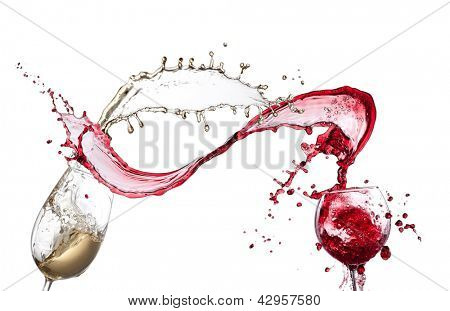 Red and white wine splash isolated