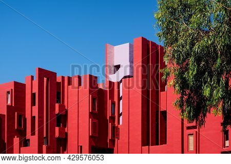 Calpe, Spain - 19 July 2021: The Modern Apartment Complex 'la Muralla Roja', The Red Wall, By Archit