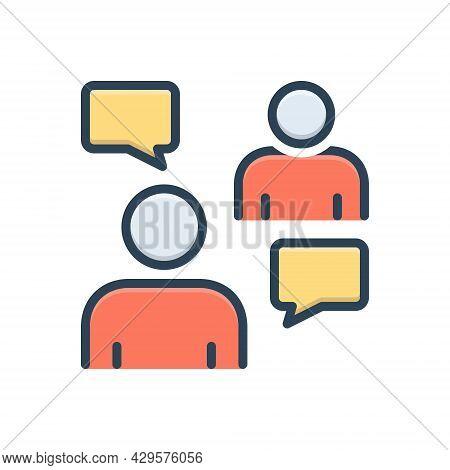 Color Illustration Icon For Persuasive Negotiation Conversation Discussion Agreement Debate Msg Bubb