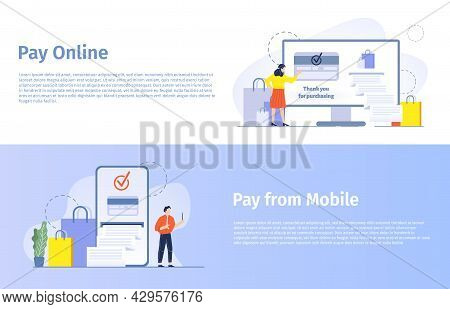 Online Shopping Vector Banner. Woman Buying Products In Internet, Paying With Credit Card And Gettin