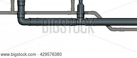 Sewer Line. Water Fittings. Pipeline For Various Purposes. Horizontal Position. Illustration Isolate