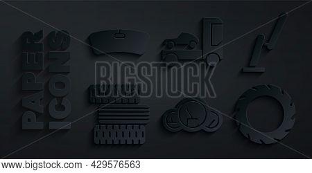 Set Speedometer, Windscreen Wiper, Car Tire Wheel, Transporter Truck And Windshield Icon. Vector