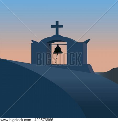 The Architectural Building Of The Chapel In The Evening Twilight