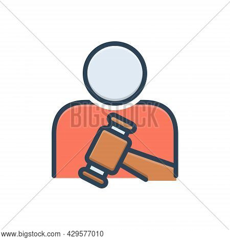 Color Illustration Icon For Obeys Command Comply Execute Observe Person Honor