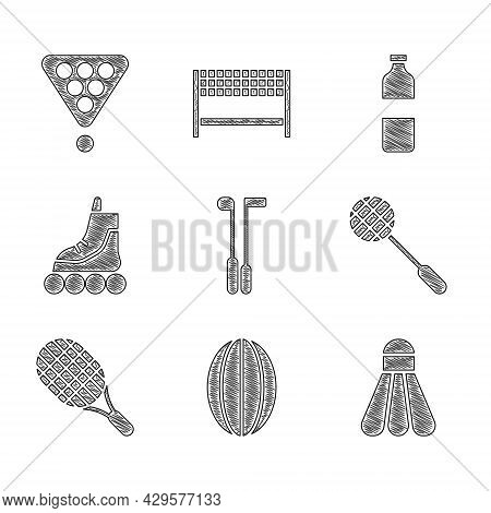 Set Golf Club, Rugby Ball, Badminton Shuttlecock, Tennis Racket, Roller Skate, Bottle Of Water And B