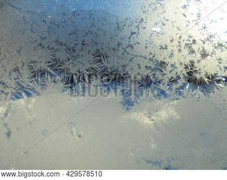 Frost Paint On A Window | Art Of Nature | Freezing Water On A Glass | Cold White Image | Detailed Vi