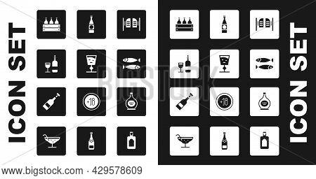 Set Saloon Door, Wine Glass, Bottle With, Bottles Of Wine Wooden Box, Dried Fish, Beer, Cognac Brand
