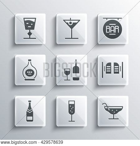 Set Glass Of Champagne, Cocktail, Saloon Door, Wine Bottle With Glass, Champagne, Bottle Cognac Bran