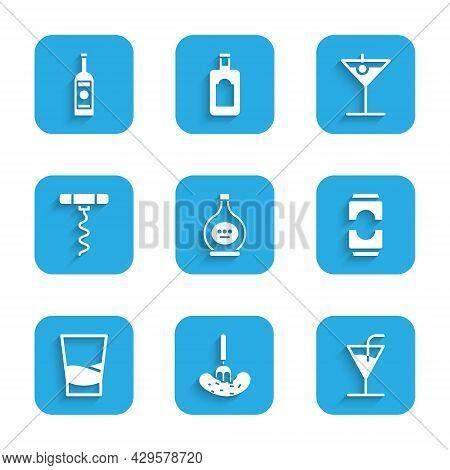 Set Bottle Of Cognac Or Brandy, Pickled Cucumber On Fork, Cocktail, Beer Can, Glass Vodka, Wine Cork