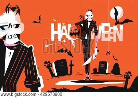 Skeleton Dressed In Costume Vector Illustration. Horror Character With Pumpkin. Dark Scary Cemetery
