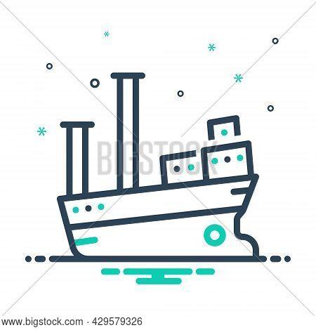 Mix Icon For Vessel Cargo Ship Boat Marine Transport Travel Maritime Cruise Sea Large