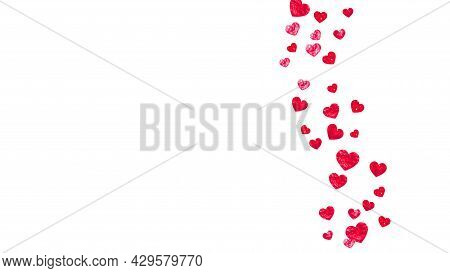 Valentine Day Border With Red Glitter Sparkles. February 14th Day. Vector Confetti For Valentine Day