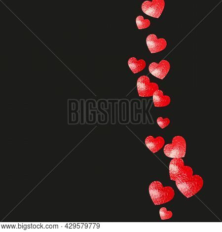 Valentine Background With Pink Glitter Hearts. February 14th Day. Vector Confetti For Valentine Back