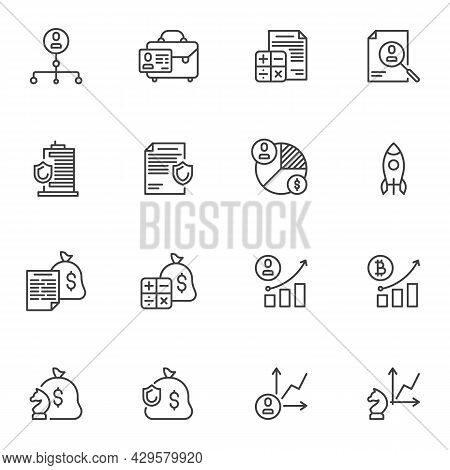 Finance And Business Line Icons Set, Outline Vector Symbol Collection, Linear Style Pictogram Pack.
