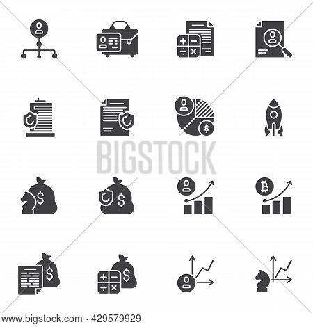 Finance And Business Vector Icons Set, Modern Solid Symbol Collection, Filled Style Pictogram Pack.