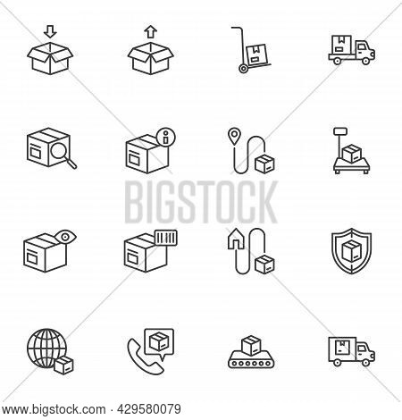 Parcel Delivery Line Icons Set, Outline Vector Symbol Collection, Linear Style Pictogram Pack. Signs