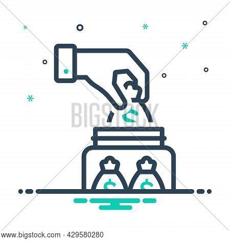 Mix Icon For Save Money Deposit Investment Venture Contribution Transaction Management Commercial Co