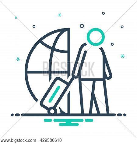 Mix Icon For Immigrant Travel Migrant Alien Foreigner Migrant Outsider Newcomer Non-native Stranger