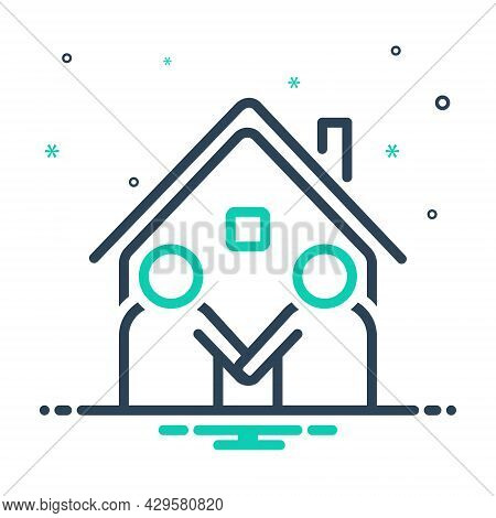 Mix Icon For Neighbor Vicinal Neighbour Next-door Neighboring Acquaintance Familiarization Meet