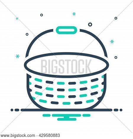 Mix Icon For Basket Cart Handle Empty Container Box Hamper