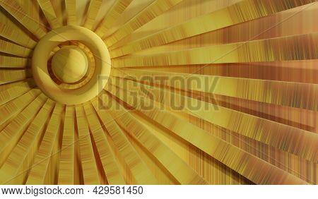 3d Illustration Render Abstract Modern Sundial Background. The Concept Of Renewable Sources Solar En