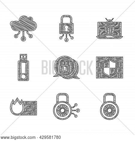 Set Cyber Security, Safe Combination Lock, Shield With Brick Wall, Firewall, , Usb Flash Drive, Syst