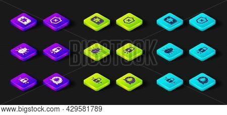 Set Cyber Security, System Bug, Shield With Cross Mark And Browser Incognito Window Icon. Vector