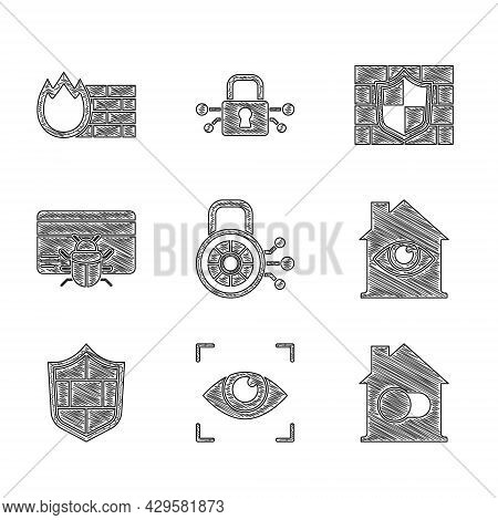 Set Cyber Security, Eye Scan, Smart Home, House With Eye, Shield Brick Wall, System Bug In Credit Ca