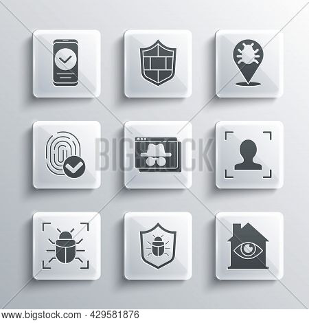 Set System Bug, House With Eye Scan, Face Recognition, Browser Incognito Window, Fingerprint, Smartp