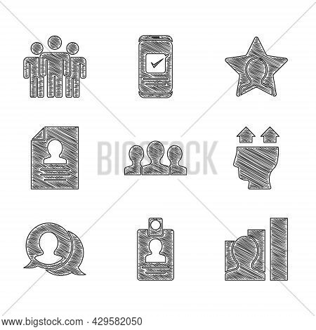 Set Users Group, Identification Badge, Productive Human, Of, Speech Bubble Chat, Resume, Head Huntin