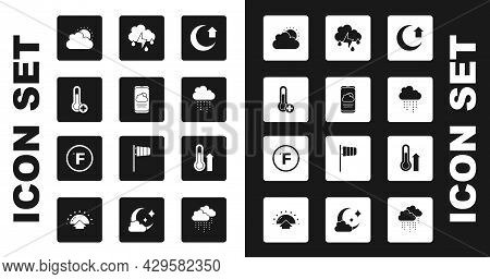 Set Moon, Weather Forecast, Meteorology Thermometer, Sun And Cloud Weather, Cloud With Rain, Lightni