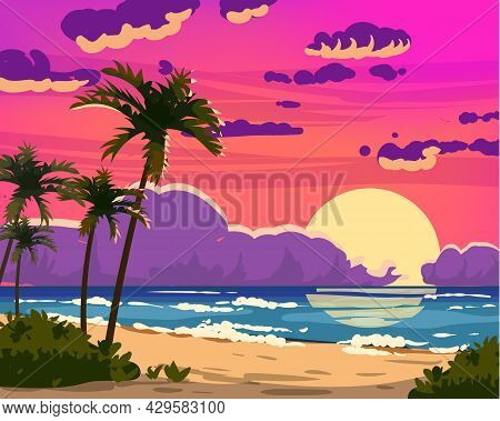 Sunset Ocean Tropical Resort Landscape. Sea Shore Beach, Sun, Exoti Csilhouettes Palms, Coastline, C