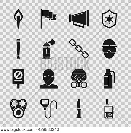 Set Walkie Talkie, Hand Grenade, Special Forces Soldier, Megaphone, Paint Spray Can, Police Rubber B