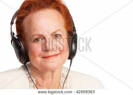 Positive Senior In Headphones