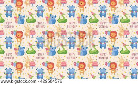 Happy Birthday Pattern, Banner, Background. Cute Animal Lion, Rhino, Koala, Rabbit, Snake. Present B