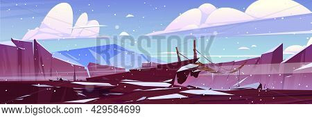Winter Landscape With Mountain Suspended Rope Bridge Above Deep Cliff Under Falling Snow. Scenery Ro