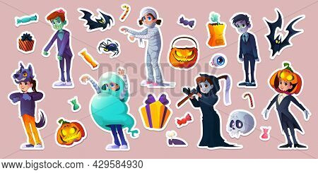 Halloween Stickers With People In Scary Costumes Of Ghost, Zombie, Mummy And Werewolf. Vector Cartoo